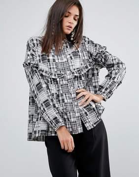 YMC Patchwork Ruffle Shirt