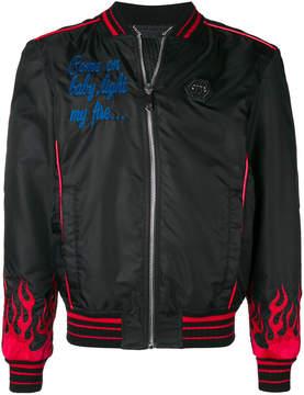 Philipp Plein Hotfix Flames bomber jacket