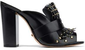 Schutz Janny Fringed Studded Glossed-Leather Mules