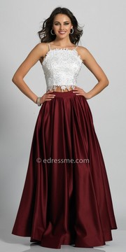Dave and Johnny Two Piece Low Cut Back Rhinestone Embellished Evening Dress