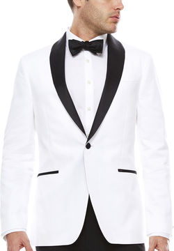 Jf J.Ferrar JF Stretch White Tuxedo Jacket- Slim Fit