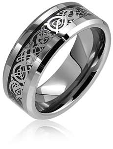 Dragon Optical Bling Jewelry Tungsten Celtic Black Inlay Comfort Fit Wedding Band.