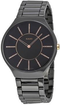Rado True Thinline Black Ceramic Ladies Watch