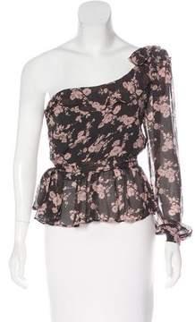 For Love & Lemons One-Sleeve Floral Print Blouse