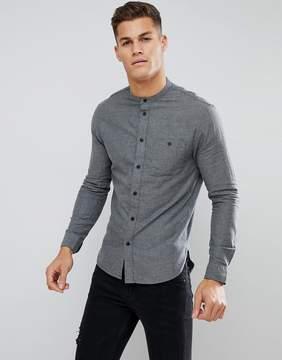 Kiomi Grandad Collar Shirt In Gray