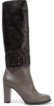 Karl Lagerfeld Two-Tone Leather Knee Boots