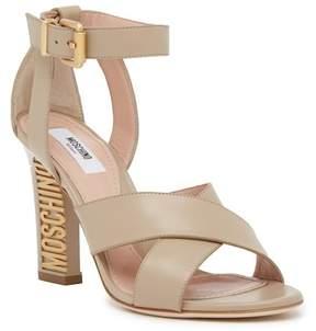 Moschino Leather Logo Heel Sandal