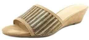 Thalia Sodi Riya Women Open Toe Canvas Nude Slides Sandal.