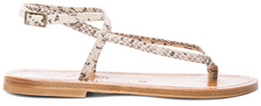 K. Jacques Snakeskin Embossed Leather Delta Sandals in Animal Print,Neutrals.
