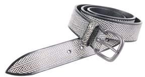 Orciani Men's White/black Leather Belt.