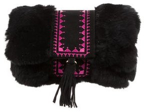 Glamourpuss Fur Embroidered Bag w/ Tags