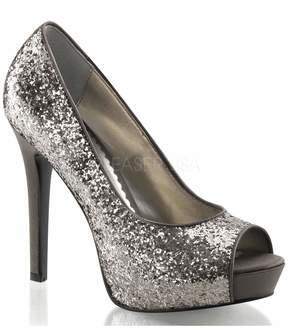 Unique Vintage Charcoal Glitter Peep Toe Pump Shoes