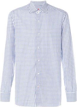 Isaia gridded long-sleeved shirt
