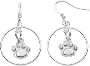 Dayna U Penn State Nittany Lions Sterling Silver Logo Charm Hoop Drop Earrings