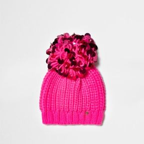 River Island Womens Bright pink sequin bobble beanie hat