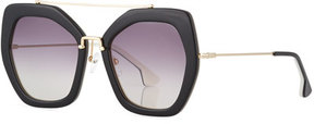 Alice + Olivia Bowery Square Sunglasses, Black