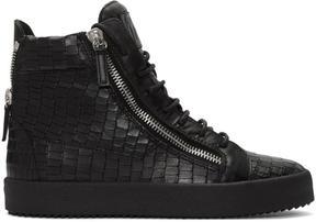 Giuseppe Zanotti Black Croc-Embossed London High-Top Sneakers