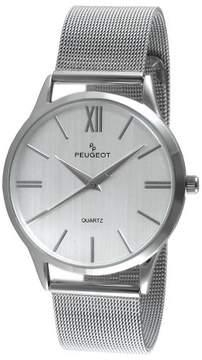 Peugeot Watches Men's Round Slim Stainless Steel Mesh Bracelet Watch - Silver