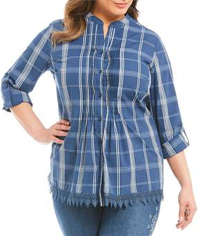 Allison Daley Plus Long Roll-Tab Sleeve Plaid Pintucked Button Front Shirt