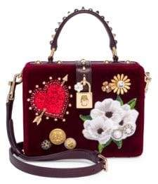 Dolce & Gabbana Embellished Velvet Top-Handle Bag - DARK RED - STYLE