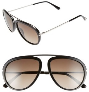 Tom Ford Men's 'Stacy' 57Mm Aviator Sunglasses - Shiny Black/ Gradient Roviex