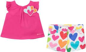Agatha Ruiz De La Prada Pink Love Heart T-Shirt and Love Hearts Print Shorts