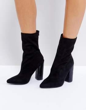 Public Desire Universe Black Crackled Heeled Ankle Boots