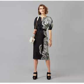 Amanda Wakeley   Fitted Black Sheer Cloque Jacquard Dress   Xl   Black