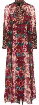 Anna Sui Satin-Paneled Floral-Print Georgette Midi Dress