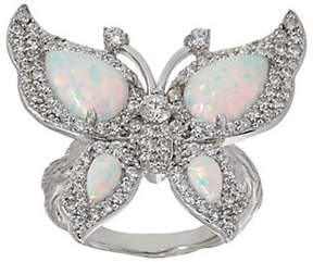Diamonique & Synthetic Opal Butterfly Ring,Sterling