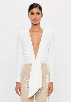 Missguided White Wrap Bodysuit