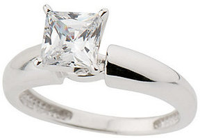 Diamonique As Is 1 ct Princess Solitaire Ring, 14K Gold