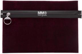 MM6 MAISON MARGIELA Burgundy Velvet Zip T Pouch