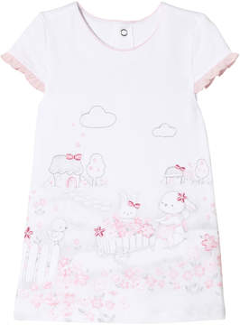 Mayoral White Bunny Print and Frill Sleeve Dress