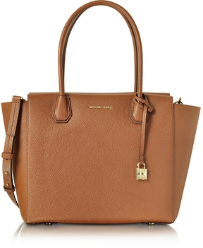 Michael Kors Mercer Large Luggage Bonded Pebble Leather Satchel - BROWN - STYLE