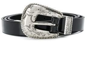 B-Low the Belt Women's Silver/black Leather Belt.