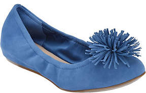 Isaac Mizrahi Live! Suede Flats with Fringe PomPom