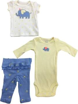 Carter's Infant Toddler Girls Blue Elephant Shirt Yellow Bodysuit & Leggings 3-PC Outfit