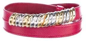 Judith Leiber Lizard Buckle Waist Belt