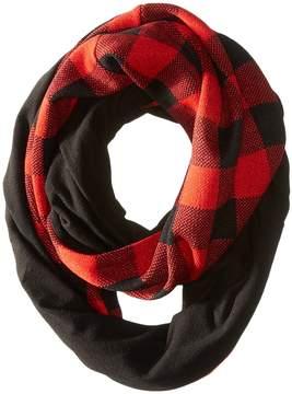 Plush Fleece - Lined Plaid Infinity Scarf Scarves