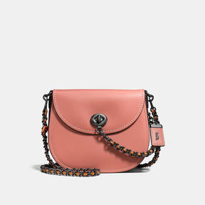 COACH Coach Turnlock Saddle In Colorblock Leather - BLACK COPPER/MELON - STYLE