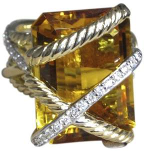 David Yurman Wrap 18K Yellow Gold with Citrine and Diamond Ring Size 6