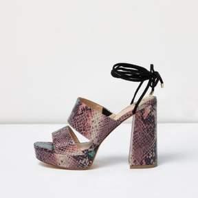 River Island Womens Pink snake print tie ankle platform mules