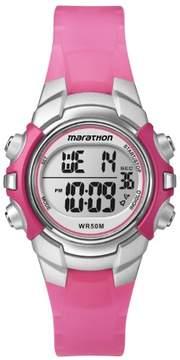 Timex Marathon by Women's Digital Mid-Size Watch, Pink Resin Strap