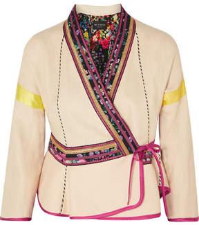 Etro Satin-trimmed Embroidered Linen-blend Wrap Jacket - Cream