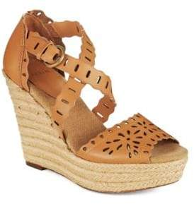 AERIN Laila Perforated-Calfskin Wedge Sandals