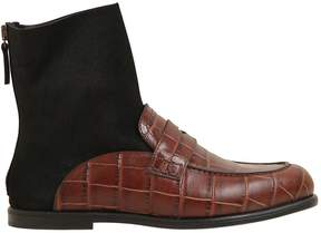 Loewe 10mm Leather Loafer Sock Boots