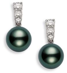 Mikimoto Women's 'Morning Dew' Black South Sea Cultured Pearl & Diamond Earrings