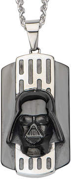 Star Wars FINE JEWELRY Two-Tone Stainless Steel Black IP Darth Vader Dog Tag Pendant Necklace