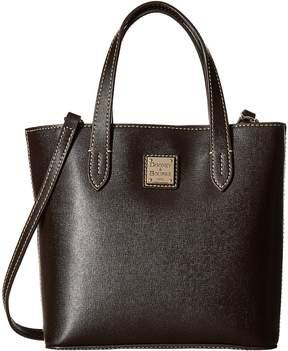 Dooney & Bourke Saffiano Mini Waverly Handbags - BLACK/BLACK TRIM - STYLE